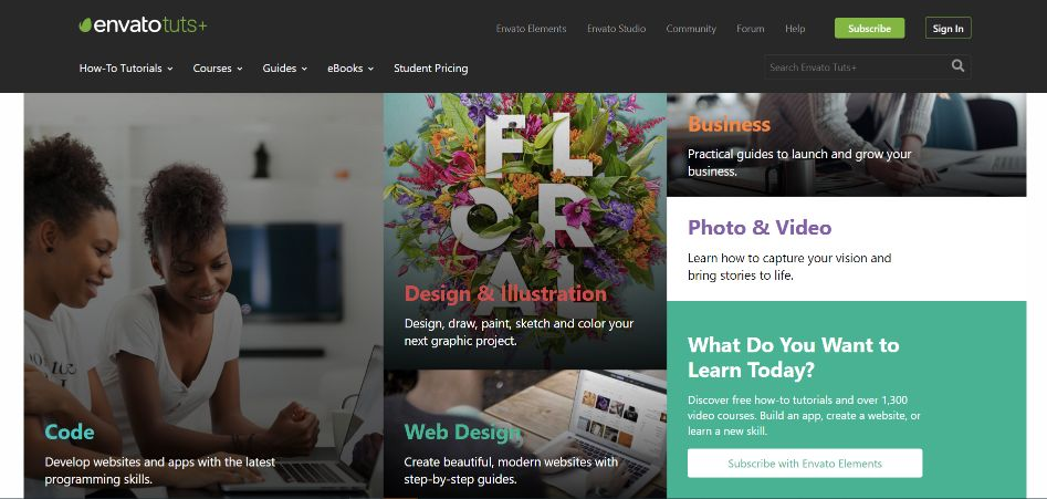 Envato tuts - develop creative skills with their online tutorials and courses