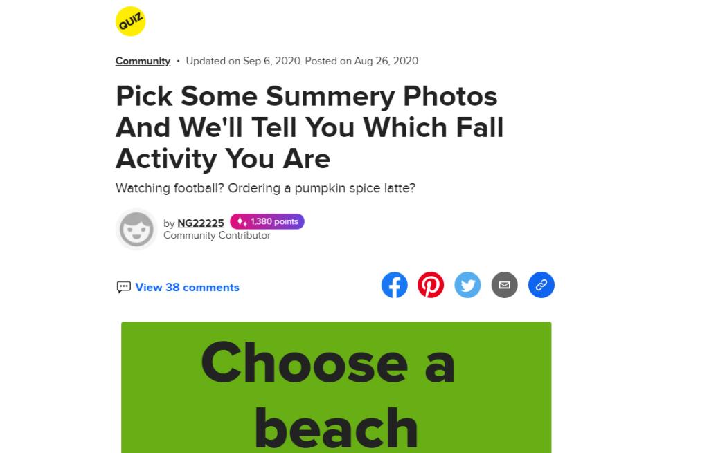 fall activity quiz