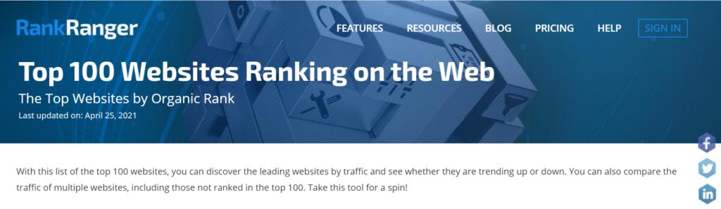 top 100 websites ranking high